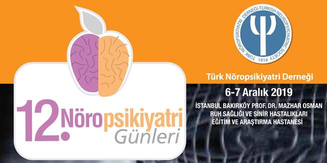 12. Nöropsikiyatri Günleri 6-7 Aralık 2019 tarihlerinde Bakırköy Prof. Dr. Mazhar Osman Ruh Sağlığı ve Sinir Hastalıkları Eğitim ve Araştırma Hastanesi'nde gerçekleşecektir.