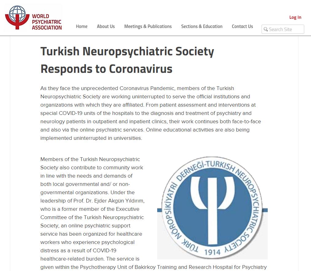 Pandemi günlerinde ülkemizde Türk Nöropsikiyatri Derneği'nin katkıda bulunduğu faaliyetler Dünya Psikiyatri Birliği tarafından duyuruldu